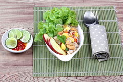 Deep fried mixed vegetable for  in Vegetable festival of Chinese as stir taro in tofu sheet,sliced taro and sweet corn fried. Stock Image