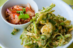 Deep fried morning glory with spicy shrimp salad Stock Images
