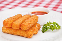 Deep-fried mozzarella cheese sticks Stock Images