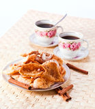 Deep fried pastry with  cinnamon Royalty Free Stock Photo