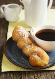 Deep fried pastry with powder sugar. Royalty Free Stock Photography