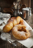 Deep fried pastry with powder sugar Stock Images