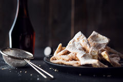 Deep fried pastry ribbons Royalty Free Stock Images
