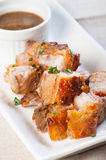 Deep fried pork belly with liver sauce Royalty Free Stock Photography