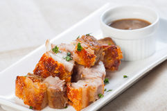 Deep fried pork belly with liver sauce Royalty Free Stock Images