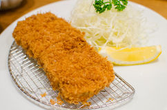 Deep fried pork with cabbage set stock photo