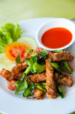 Deep fried pork and chili sauce Stock Images