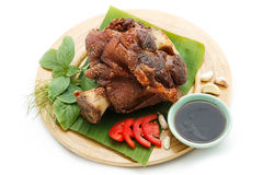 Deep Fried Pork Knuckle serve with vegetable royalty free stock photos
