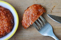 Deep fried pork mixed glass noodle cut and stab in fork Royalty Free Stock Photography
