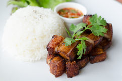 Deep fried pork with rice and chili sauce Stock Photography