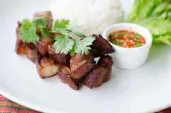 Deep fried pork with rice and chili sauce Royalty Free Stock Images