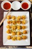 Deep fried pork and shrimp dumplings royalty free stock images