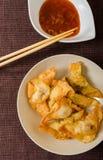 Deep fried pork and shrimp dumplings royalty free stock photography