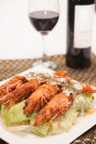 Deep fried prawn with Thai curry. Stock Photography