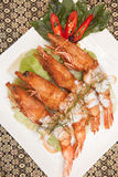 Deep fried prawn with Thai curry. Royalty Free Stock Image