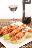 Deep fried prawn with Thai curry. Stock Photo