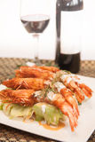 Deep fried prawn with Thai curry. Royalty Free Stock Images