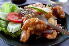 Deep fried prawns with cashew nuts Royalty Free Stock Images