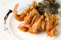 Deep Fried Prawns. A close up plate of deep fried Prawns ready to be served Royalty Free Stock Photos