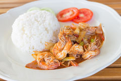 Deep fried prawns with garlic and pepper Royalty Free Stock Photos