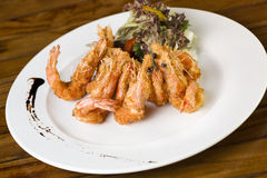 Deep Fried Prawns. A plate of deep fried Prawns ready to be served Stock Image
