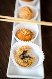 Deep fried rice balls- chinese dessert stock photos