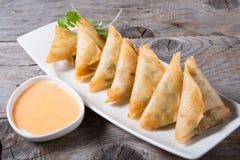 Deep fried samosas Stock Photos