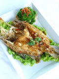 Deep fried sand goby fish with x.o. sauce Royalty Free Stock Photos