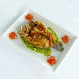 Deep fried sand goby fish with x.o. sauce Stock Photos