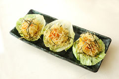 Deep fried scallop with salad. Chinese cuisine. yumcha, chinese food Royalty Free Stock Image
