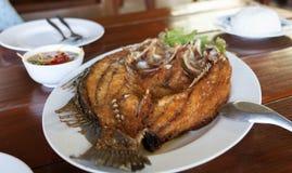 Deep fried sea bass with fish sauce