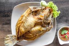 Deep fried sea bass fish Royalty Free Stock Photos