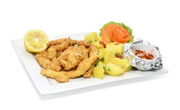 Deep fried Seafood. Deep fried flour mussels with garnish Royalty Free Stock Photography