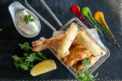 Deep Fried Seafood In A Basket Stock Photos