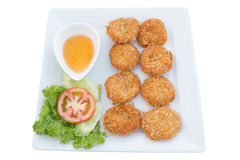 Deep fried shrimp cakes on dish Royalty Free Stock Photography