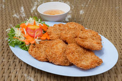 Deep-fried shrimp cakes. Food-background Stock Photo