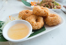 Deep - fried shrimp cakes with plum sauce. Royalty Free Stock Photography