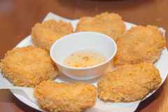Deep-fried shrimp cakes in Thai food menu. Stock Photo