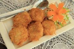 Deep fried shrimp cakes, Thai food recipe Royalty Free Stock Photos