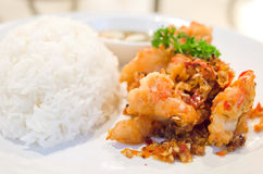 Spicy shrimp and rice Stock Photo