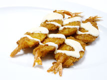 Deep fried shrimp with cream sauce Stock Image