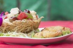 Deep fried Shrimp fruit salad Royalty Free Stock Photo