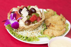 Deep fried Shrimp fruit salad Royalty Free Stock Image