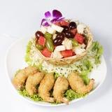 Deep fried Shrimp fruit salad Stock Photos