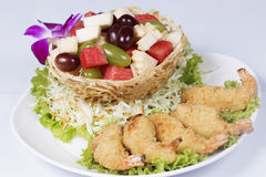 Deep fried Shrimp fruit salad Stock Images