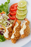 Deep fried shrimp lemon cream sauce. Seafood menu , Deep fried shrimp lemon cream sauce Royalty Free Stock Photography