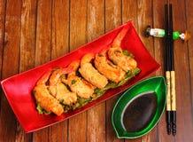 Deep fried shrimp and pork rolls Stock Photo