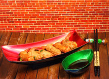 Deep fried shrimp and pork rolls Royalty Free Stock Images