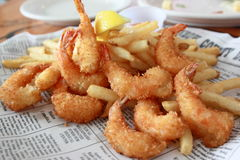 Deep fried shrimp with potato chip Royalty Free Stock Photo