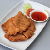 Deep fried shrimp tile shape with spicy chili sauce Stock Image